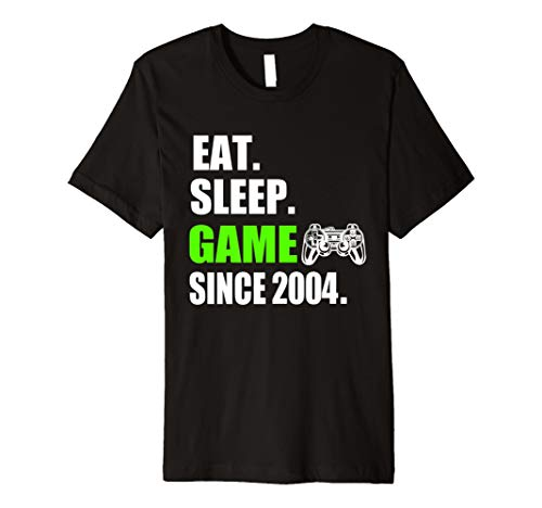 Eat Sleep Game siet 2004 T-Shirt Geschenk zum 14 Geburtstag -