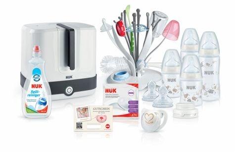 Nuk Sterilisator Starter-Set Hygiene - Baby-Erstausstattung inkl. Dampfsterilisator für bis zu 6 Babyflaschen & Zubehör - mit Trockenständer