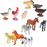 12pcs Juegos de Modelo de Animales Plásticos Cabra Gato Cerdo Burro Perro Ovejas Varios Colores