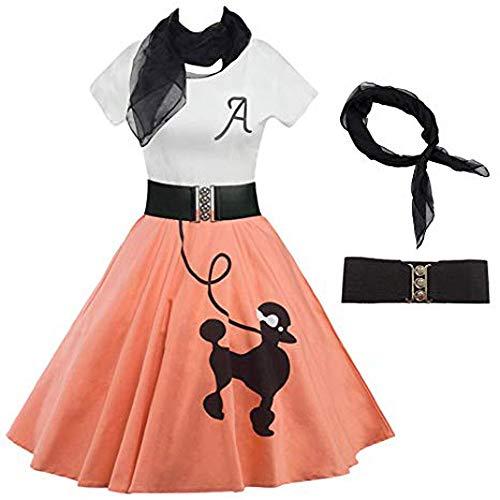 Longzjhd Frauen Kleid Pudel drucken Schlittschuhläufer Jahrgang Rockabilly Schaukel Cocktailkleid Langarm Cocktailkleid Rockabilly Kleid Damen Elegant Kleider Spitzenkleid ()
