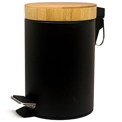Kazai Kosmetikeimer 3 Liter | Design Treteimer mit Echtem Bambus Holz Deckel | Mülleimer für Bad, Toilette, Hotel und Restaurant | Pedaleimer Schwarz