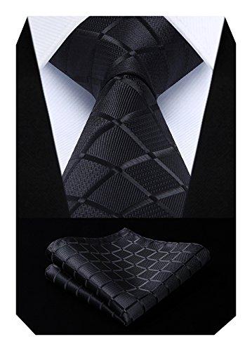 Hisdern Herren Krawatte Taschentuch Check Krawatte & Einstecktuch Set Schwarz Satin Square Neck
