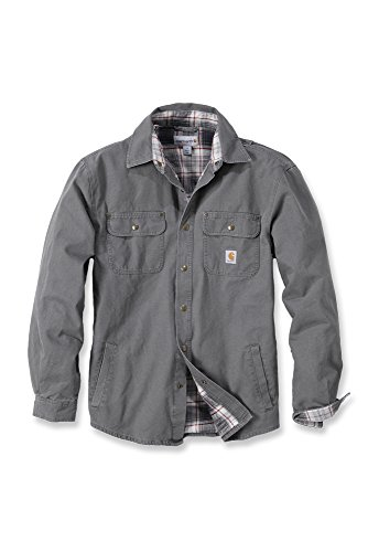 Carhartt Arbeitshemd, arbeitsshirt, arbeitsjacke Weathered Canvas Shirt Jacket - Gravel S