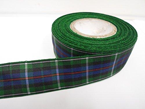 2 mètres x 25mm Vert / Blanc ruban bleu / tartan, double face, MacKenzie, 25 mm