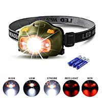 Cobiz Head Torch LED, USB Rechargeable Head Torch for Running, 120 Lumens Bright Headlamp Lightweight Headtorch 5 Modes Helmet Light for Fishing Camping Hiking Kids 3 AAA Batteries Included