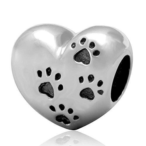 Encanto de huellas de mi dulce mascota 925plata de ley I Love My perro corazón cuentas para pulsera Europea
