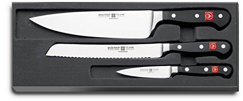 Wüsthof Classic 9660 - Set di coltelli con coltello da cucina, coltello da pane e coltellino