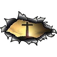 RIPPED modificati ovale aperto in fibra di carbonio, effetto, in fibra con motivo croce, motivo: croce cristiana religiosi vinile Adesivo per auto, 150 x 90 mm - Adesivo Religiosi
