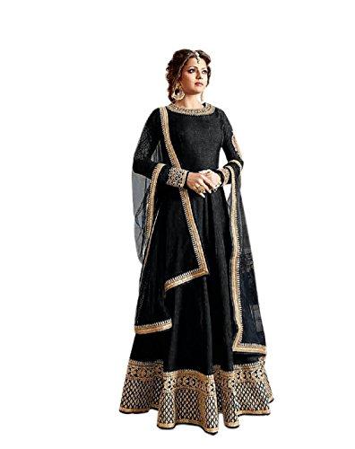 Active Women's Crepe Silk Anarkali Salwar Suit (Free Size_Black)