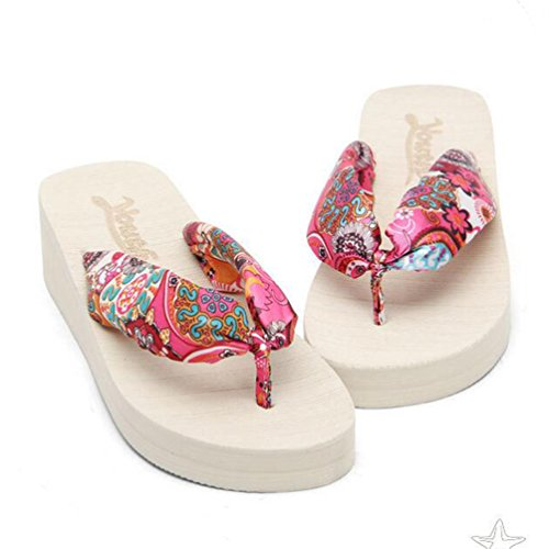 Yiiquan Donna Sandali Bohemia Zeppa Infradito Scarpe da spiaggia Pantofole Beige #1