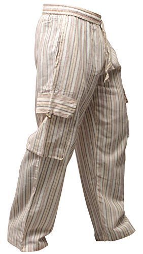 Shopoholic Moda Unisex Multicolor Rayas Wideleg sidepocket Hippy pantalones, L.Grey, XX-Large