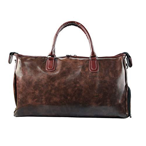 WHCREAT Borsone da viaggio, Borsa da Palestra per il Week-end in Pelle per il Weekend Borsa da Palestra Tote Bag da Donna (Marrone)