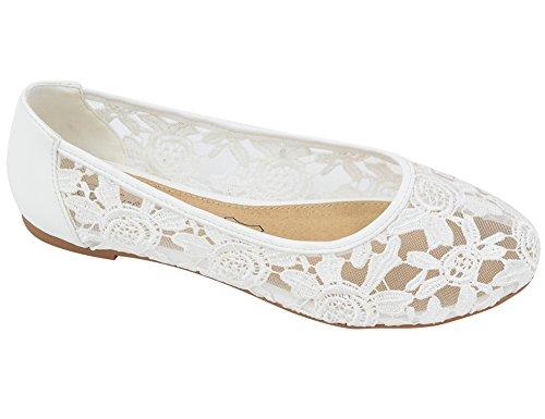 Greatonu Damen Geschlossene Ballerinas Brautschuhe Flach Spitze Flache Sandalen Weiß Größe 38EU