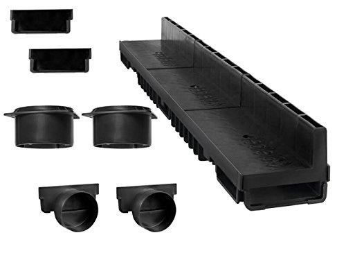 'S'lon Caniveau à Fente 10 m (kit Complet) | Plastique Noir Classe B125 | Type 20 (caniveaux)