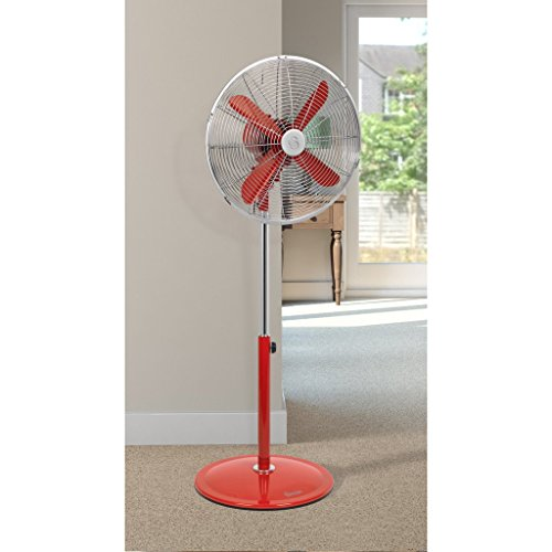 Swan Retro Stand Fan, 16-inch,1 Kg, 60 Watt, Red