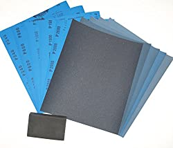 Wet and Dry Sandpaper Kit 240/600/1000/1500/2000 with Sanding Block. 10 Sheets Mixed Grits. Equal Amounts of each Grit. Highest Quality Silicon Carbide Abrasive Waterproof Paper.
