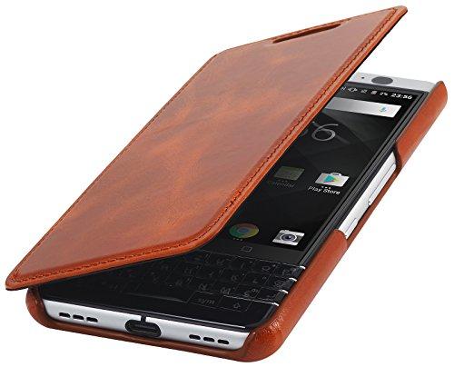 StilGut Book Type Case, Hülle Leder-Tasche für BlackBerry KEYone. Seitlich klappbares Flip-Case aus Echtleder für Das Original BlackBerry KEYone, Cognac