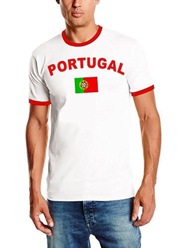 Portugal T-Shirt Ringer weiss-rot, Gr.M