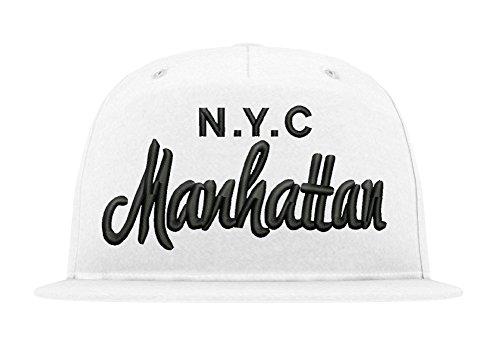 TRVPPY 5 Panel Snapback Trucker Mesh Cap Modell NYC Manhattan, Schwarz-Weiß