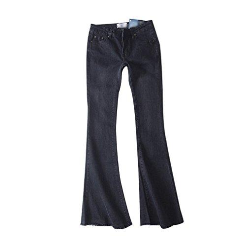 ZKOO Donna Pantaloni Jeans a Zampa a Vita Alta Bootcut Denim Pantaloni Gamba Larghi Casuale Grigio scuro