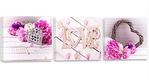 Feeby Frames, Tableau Multi Panneaux- 3 Parties - Panoramique, Impression sur Toile, Décoration Murale, Image imprimée, 90x30 cm, Fleurs, Roses, CŒUR, Love, Rustique, Rose