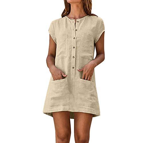 MAYOGO Damen Kleider Kleid Damen Sommer Baumwolle und Leinen Tshirt Kleider Kaftan Kleid Unifarben Kurzarm Tasche Sommerkleid Casual Jersey Blusen (Schwarz Und Weiß Alice Kostüm)
