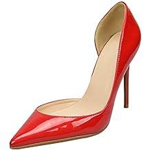 47006f2393fd HooH Escarpins Femme Talons Hauts Bout Pointu D Orsay Cuir Verni Talon  Aiguille Chaussures de