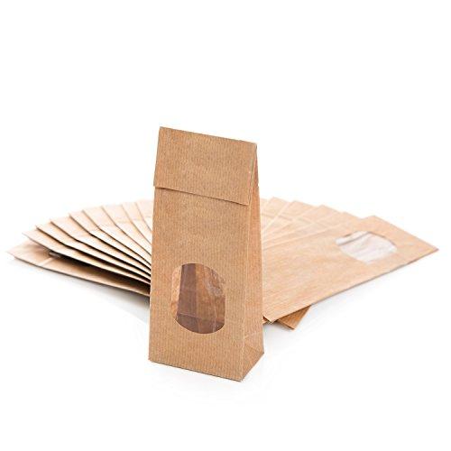 25 kleine braune Blockbodenbeutel Papiertüten MIT FENSTER (7 x 4 x 20,5 cm) mit Pergamin-Einlage für fein Gemahlenes und Fettendes lebensmittel-echt Verpackung zum Befüllen Kraftpapier Teetüten
