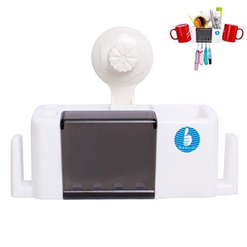 Porte-brosse à dents montée au mur Crochet d'aspiration 4 Brosse à dents Ensemble de rangement Ensemble organisateur de rangement de salle de bains (Blanc)