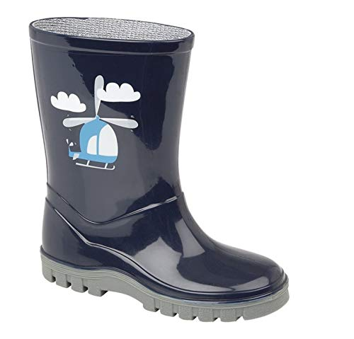 Boys Girls Childrens Kids Infants Navy Blue Wellington Wellies Boots