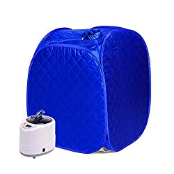 HIXGB Sauna Household Portable Steam Sauna Box Sauna Room Steam Box Household Steam Sauna Detox Fumigation Spa Weight Loss Sauna Tent,0-99 Minutes Timing,1-9 Temperature Adjustment,Blue