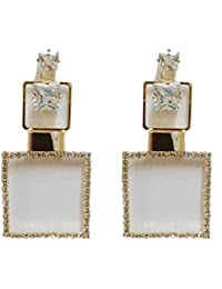 Rapunzel Collection Exclusive Wedding / Party / Bridal Fancy Gold Plated With White Stones Studded Earrings