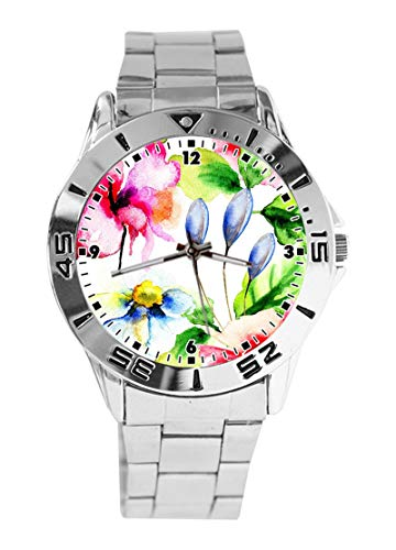 cb235bd2 ... custom T SHIRT Medium. Comments. Beautiful Color Ink Flowers Custom  Design Analog Wrist Watch Quartz Silver Dial Classic Stainless Steel Band