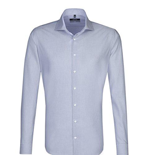SEIDENSTICKER Herren Hemd X-Slim 1/1-Arm Bügelfrei Streifen City-Hemd Kent-Kragen Kombimanschette weitenverstellbar blau (0014)