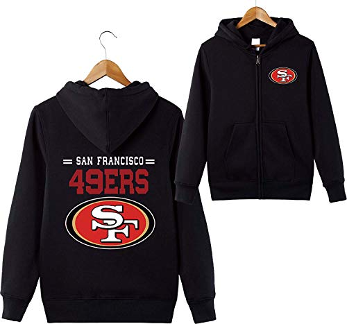 odies San Francisco 49ers SF NFL Football Team Uniform Muster Digitaldruck Strickjacke Reißverschluss Liebhaber Kapuzenpullis(XXXXL,Schwarz) ()