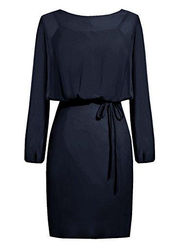 Dresstells, robe courte de demoiselle d'honneur mousseline manches longues, robe de mère de mariée Orange