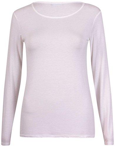 Purple Hanger - Top Femme Uni Manche Longue Col Rond Stretch Basique Blanc Cassé
