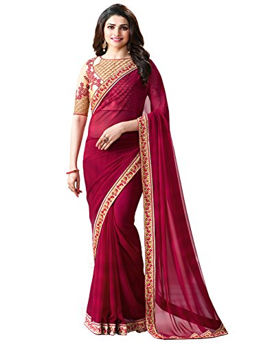 Sarees(Finix Fashion Women's Clothing Georgette Embroidered Latest Designer Saree Fashion Bollywood Party...