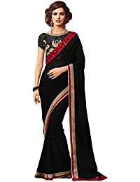 Colección Snreks Pure Georgette Ethnic Wear Saree para Mujer Saree Black Color Indian Designer Sari con