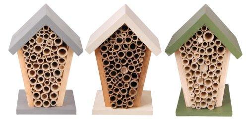 Esschert Design Bienenhaus, Nistkasten, sortiert, 1 Stück, ca. 15 cm x 13 cm x 21 cm