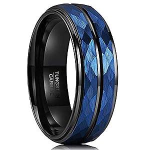 Natur Fashion – Facettierter Ring Herren Damen Paare aus Wolfram Schwarz + Blau 8mm mit schwarzer Groove Gehämmert Größe 54-70 (17,3mm – 22,2mm)