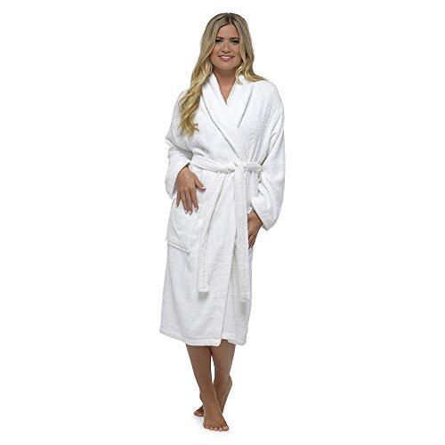 Femmes Robe de luxe en tissu éponge 100% coton Robe de chambre Peignoir de bain Cadeau de Noël idéal -  Blanc - Small