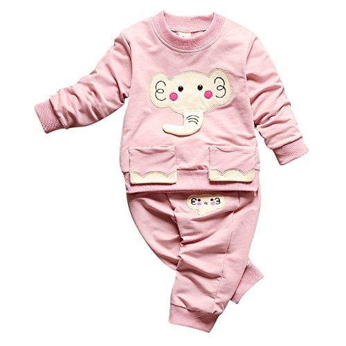 PanDaDa Säugling Kleinkind Baby Boys Girs Cartoon Elefanten Gedruckt Pullover Tops + Hosen Outfits (Gir Hoodie)