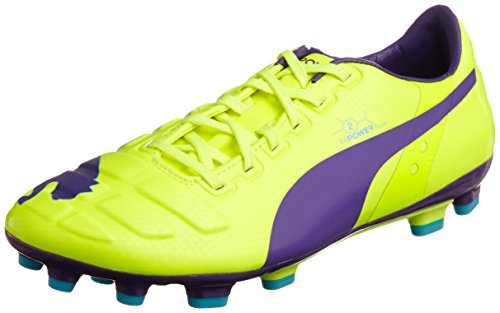 Puma evoPOWER 2 AG Herren Fußballschuhe Orange (fluro yellow-prism violet-scuba blue 02)