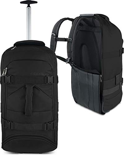 normani Backpacker Reisetaschen-Rucksack mit Trolleyfunktion - Trolley mit Frontloader Funktion und vielen Taschen 60 Liter Farbe Schwarz
