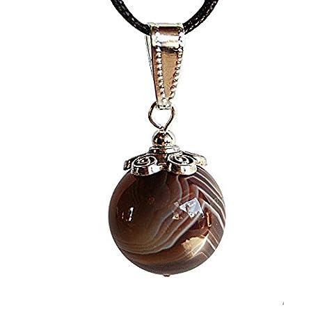 Collier pendentif pierre fine. Très belle perle agate Botswana sur cordon réglable.