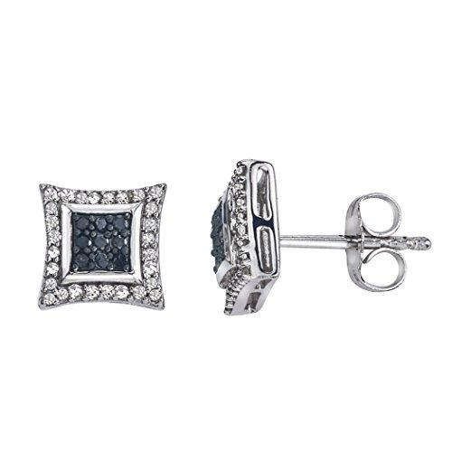 Diamant Quadratisch Ohrstecker in Sterling Silber (0,25Karat, H-I i3) (Diamant-ohrringe Quadrat)