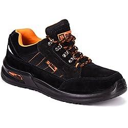 Black Hammer Chaussure de Sécurité S1P SRC Baskets Embout Acier Respirant Chaussures de Chaussures de Travail et randonnée 9952 (43 EU)