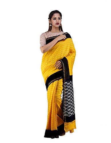 Unnati Silks Women Yellow-Black Pochampally Ikat Printed Cotton Silk Saree