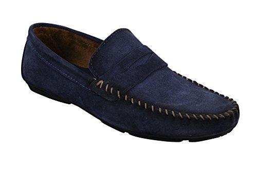 Mocassins homme daim véritable sans lacets style chic et décontracté Bleu Marine